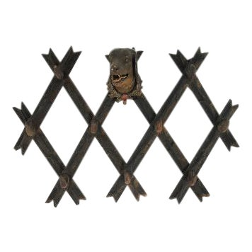 Early 19th Century Black Forest Wall Mounted Hat Rack For Sale