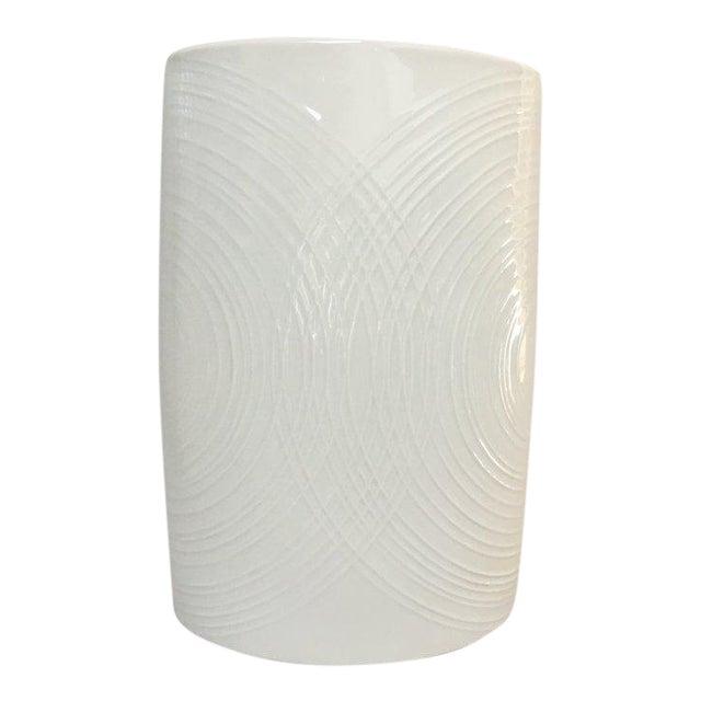 White Porcelain Naaman Op Art Pillow Vase For Sale