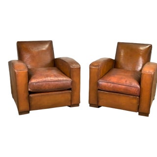 1960s Leather Club Chairs - A Pair For Sale