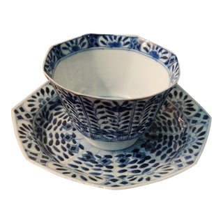 19th Century Blue & White Antique Chinese Porcelain Tea Cup & Saucer -a Pair For Sale