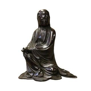 Chinese Fine Bronze Metal Sitting Tong Style Kwan Yin Buddha Statue