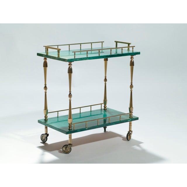 Aldo Tura Small Aldo Tura Goatskin Parchment Bar Cart, 1950s For Sale - Image 4 of 10