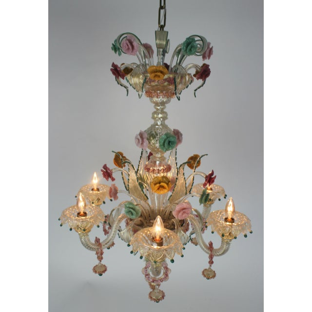 Italian Italian Venetian Glass Chandelier For Sale - Image 3 of 11