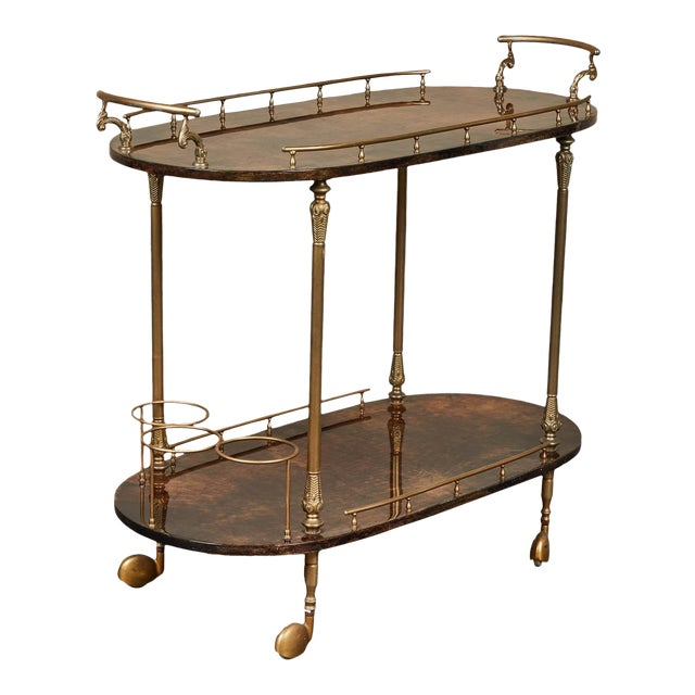1950's Aldo Tura Parchment Bar Cart Trolley For Sale
