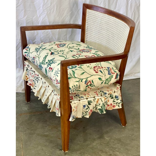 Mid Century Modern Walnut Caned Birdseye Chair For Sale - Image 4 of 9