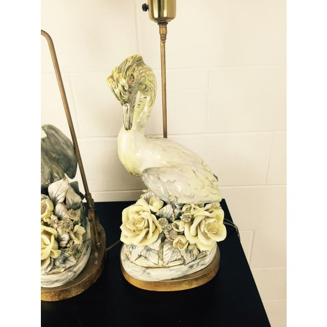 Freeman Leidy Ceramic Crane Lamps - Pair For Sale - Image 9 of 10