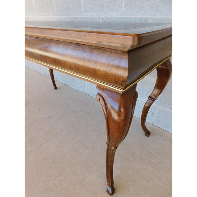 """Animal Skin Baker Burl Walnut French Louis XV Style Tooled Leather Top Writing Desk 52""""w For Sale - Image 7 of 13"""