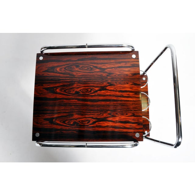 Mid-Century Modern Hungarian Chrome and Rosewood Bar Cart For Sale - Image 10 of 13
