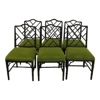 Vintage Chippendale Green Chairs - Set of 6 For Sale
