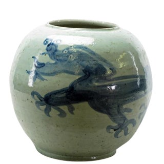 Chinese Round Blue & White Porcelain Dragon Vase