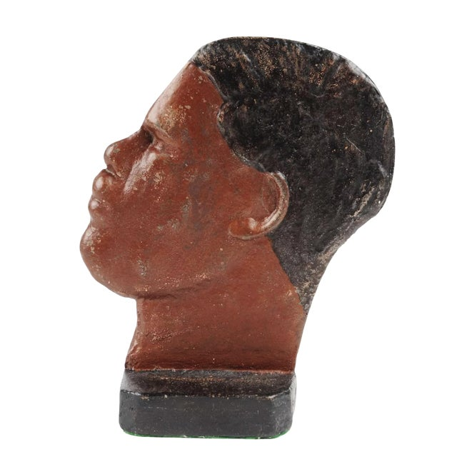Hubley Manufacturing Company 1930s Boho Chic Cast-Iron Doorstop of the Heavyweight Boxer Joe Louis For Sale - Image 4 of 4