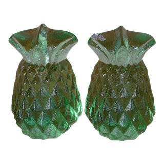 Blenko Green Glass Pineapple Bookends- A Pair For Sale