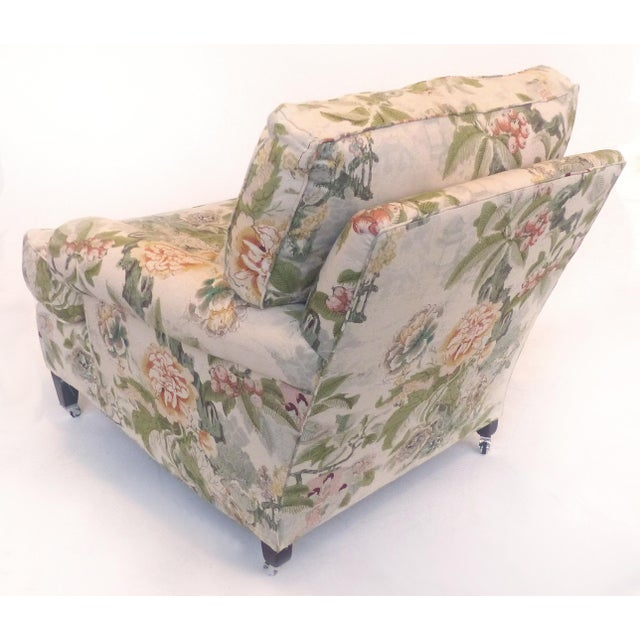 2010s Overscale Pair of Chinoiserie Upholstered Club Chairs With Down Cushions For Sale - Image 5 of 12