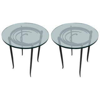 Art Deco Glass Top Side Tables - a Pair For Sale