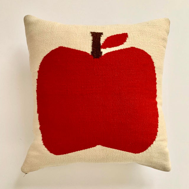 Rare early Jonathan Adler pillow with double-sided apple design. 100% hand loomed wool with feather down pillow insert....