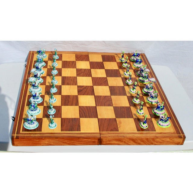 Indian Silver Enamel Mahogany Chess Set For Sale - Image 11 of 11