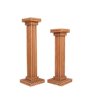 1970s Art Deco Latticework Oak and Steel Pedestals - a Pair For Sale