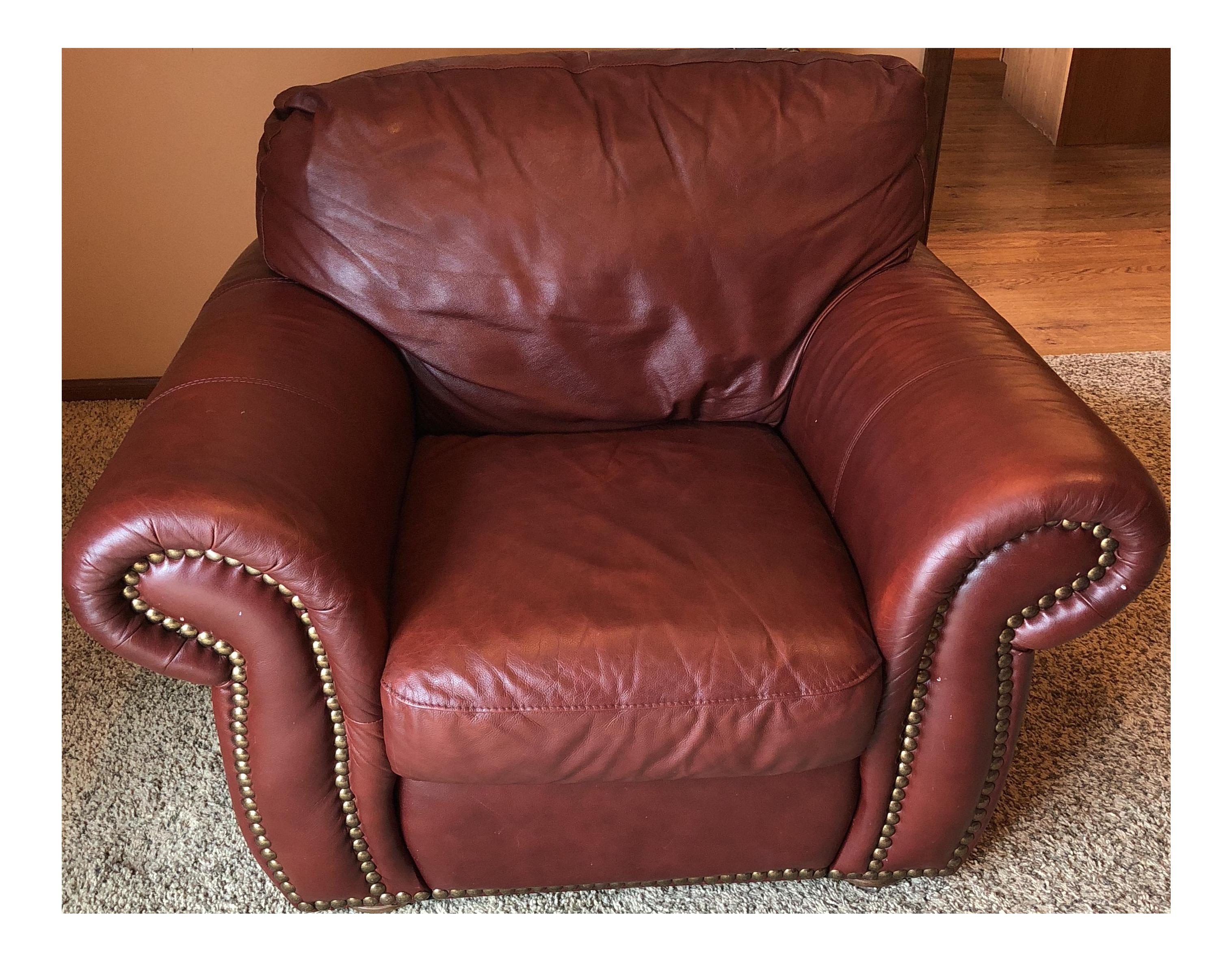 Chateau Du0027Ax Divani Red Italian Leather Club Chair