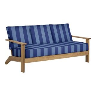 Summer Classics Ashland Teak Sofa in Cabana Stripe Cornflower For Sale
