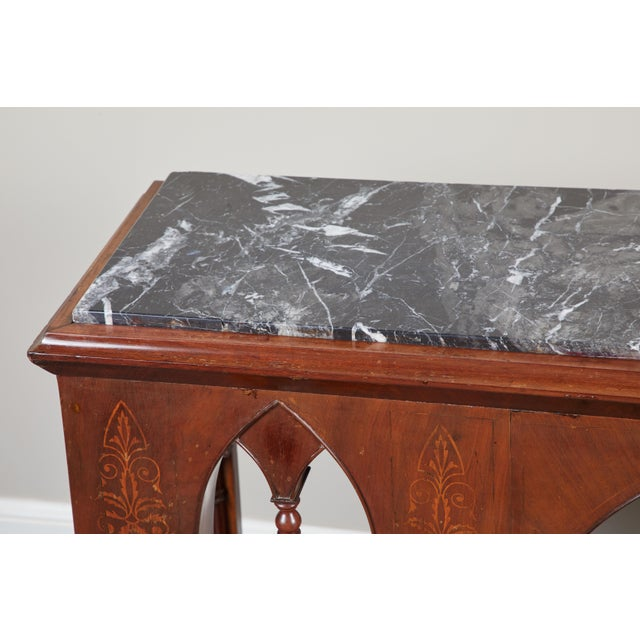 Gothic Early 19th C French Charles X Mahogany Console For Sale - Image 3 of 7