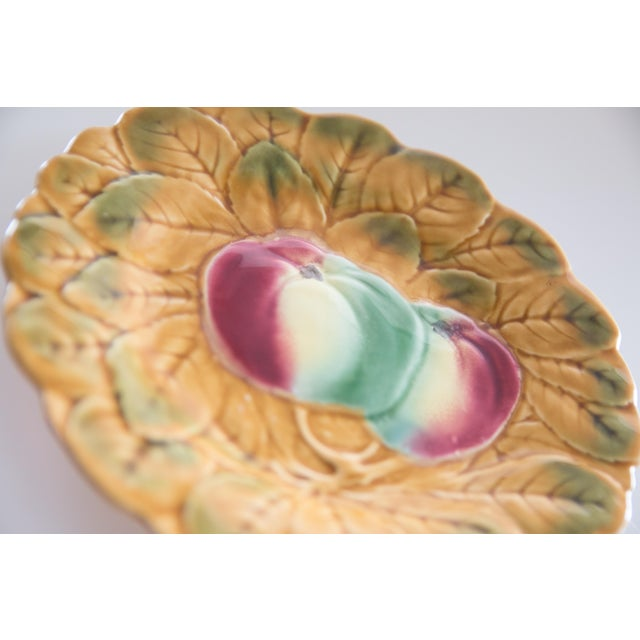 Portieux Vallerysthal French Majolica Fruit Plates, Set of 2 For Sale - Image 4 of 8