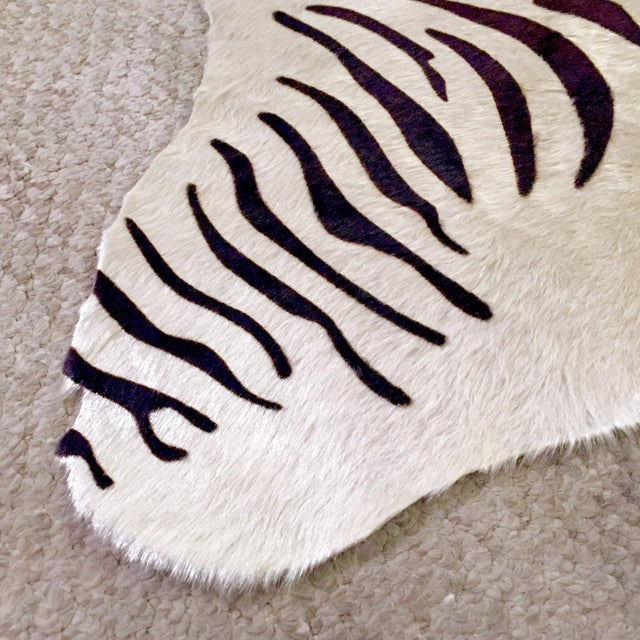 Zebra Stenciled Black Ivory Hide Rug - 6'10 X 5'7 - Image 5 of 9