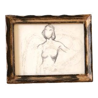 Vintage Original Modernist Female Nude Charcoal Study Drawing Vintage Wood Frame For Sale