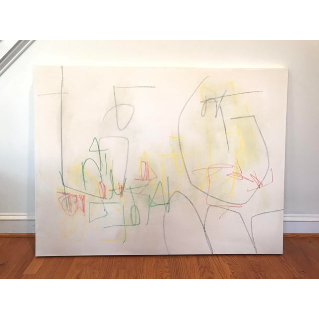 Markings in graphite, and green, yellow, and red pastel are applied and slightly smudged on top of a creamy white...