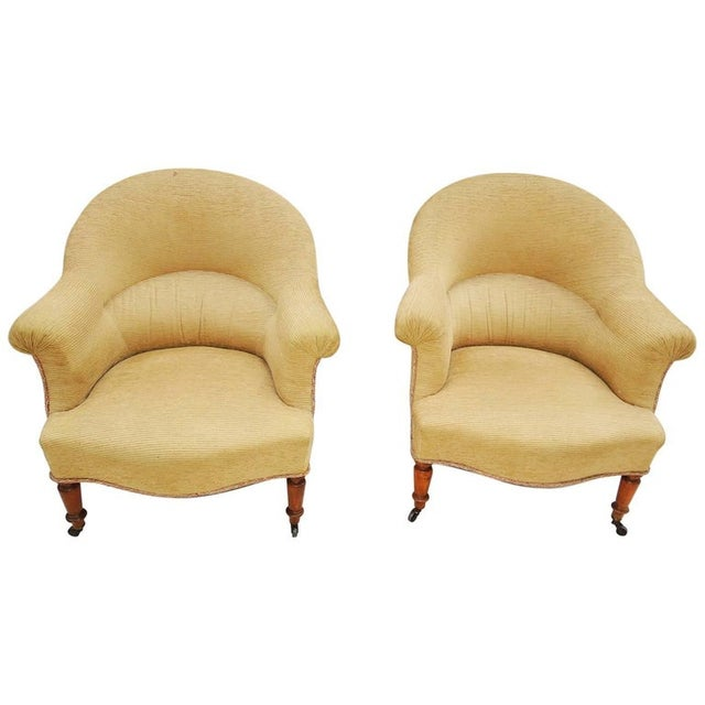 White Pair of Napoleon III Armchairs For Sale - Image 8 of 8