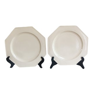 Large Vintage French Creamware Chargers Platters - a Pair For Sale