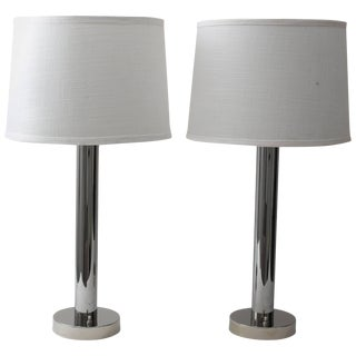 1960s Moderne Polished Chrome Table Lamps by Walter Von Nessen - a Pair For Sale