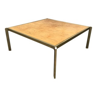 Vintage Burlwood & Brass Coffee Table For Sale