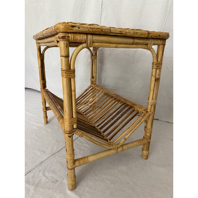 Brown Vintage Rattan Wicker Side Table With Magazine Shelf For Sale - Image 8 of 13