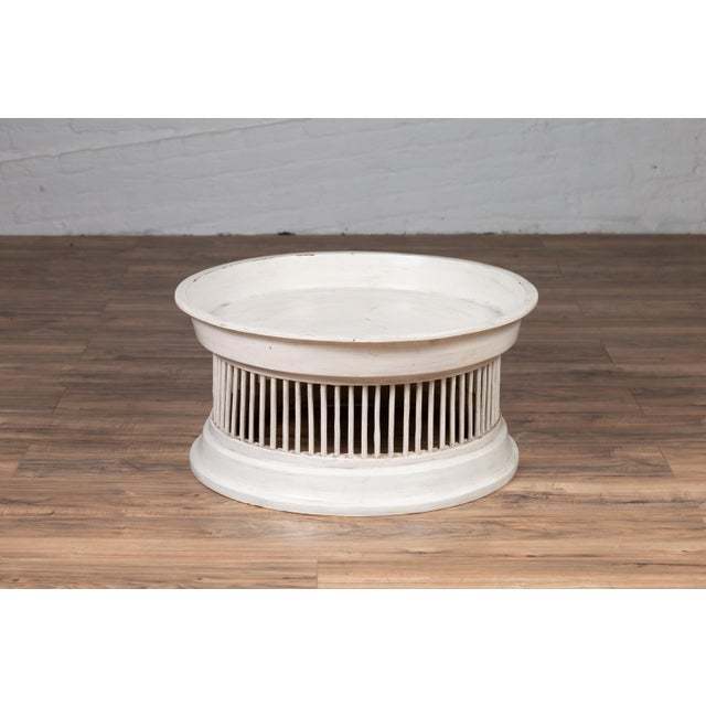 Contemporary Thai Off-White Rattan Drum Design Coffee Table with Spindle Motifs For Sale In New York - Image 6 of 13