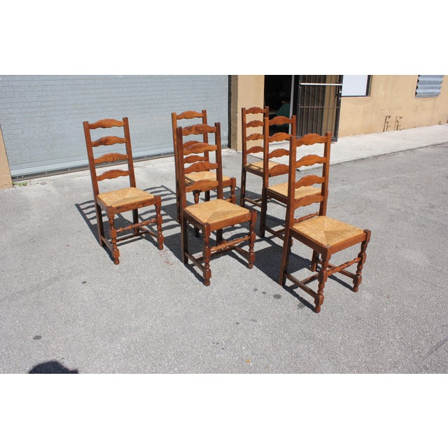French Early 20th C. Vintage French Country Rush Seat Walnut Dining Chairs- Set of 6 For Sale - Image 3 of 13