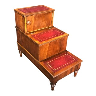 British Mahogany Library Steps With Burgundy Tooled Leather Treads For Sale