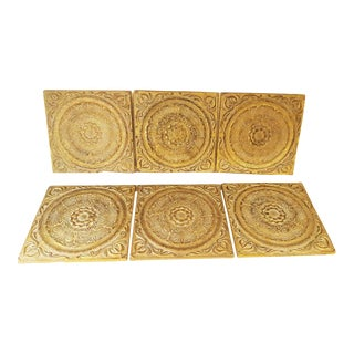 Architectural Raised Wall Art Tiles - Set of 6 For Sale