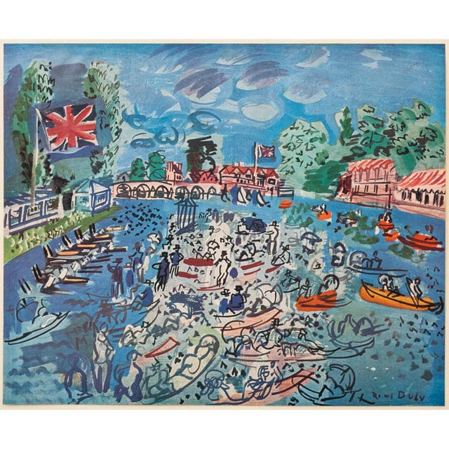 """Blue 1940s Raoul Dufy, Original Period """"Regatta at Cow-On-Thames"""" Lithograph From Geneva For Sale - Image 8 of 8"""