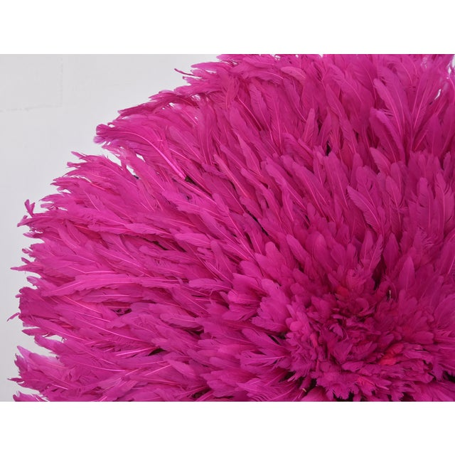 """African Large 30"""" Pink African Feather Juju Hat Wall Hanging For Sale - Image 3 of 8"""