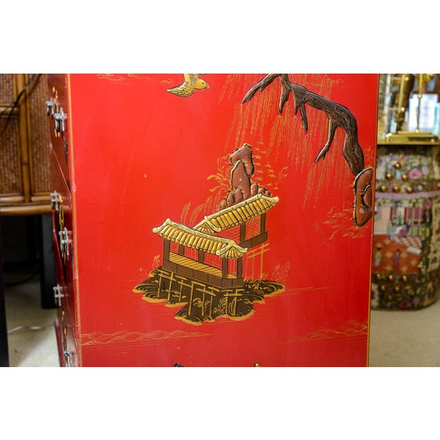 Chinoiserie Red Lacquer Chest of Drawers For Sale - Image 11 of 13
