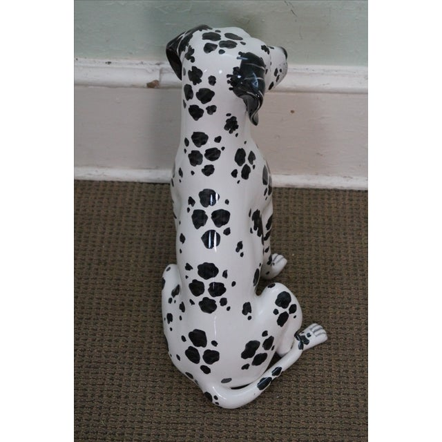 Vintage Italian Pottery Dalmatian Dog Statue For Sale - Image 4 of 10