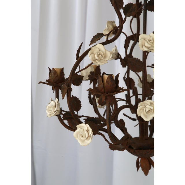 Rustic Italian Metal & White Flowers Chandelier For Sale - Image 4 of 5