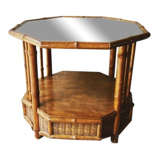 1960s Vintage Faux Bamboo Wicker Octagonal Side Table