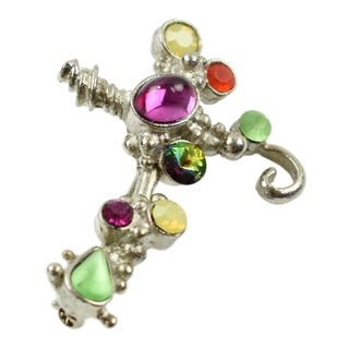 Christian Lacroix Paris Silvered Metal Jeweled Cross Pin Brooch For Sale