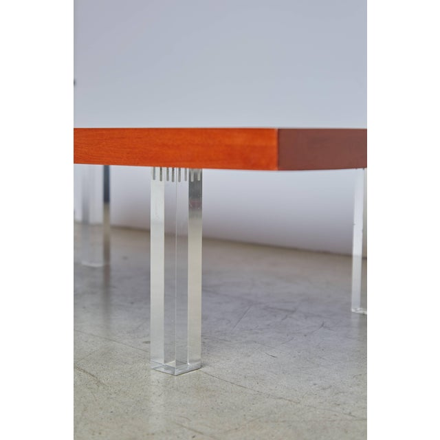 Directional Milo Baughman for Directional Walnut and Lucite Coffee Table, Circa 1960 For Sale - Image 4 of 7