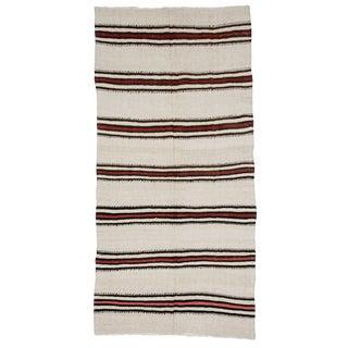 Striped Vintage Turkish Hemp Kilim Rug- 4′3″ × 8′5″ For Sale