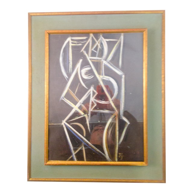 Cubist Nude Female Painting on Paper For Sale