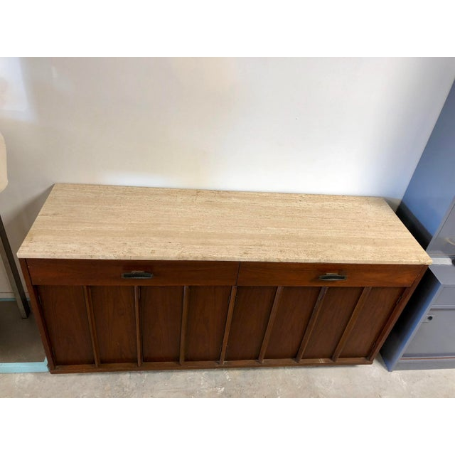 Wood Mid-Century Modern American of Martinsville Italian Soapstone Credenza For Sale - Image 7 of 10