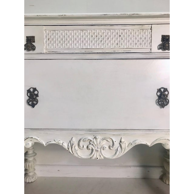 Wood 1900-1930s White Carved Buffet For Sale - Image 7 of 8