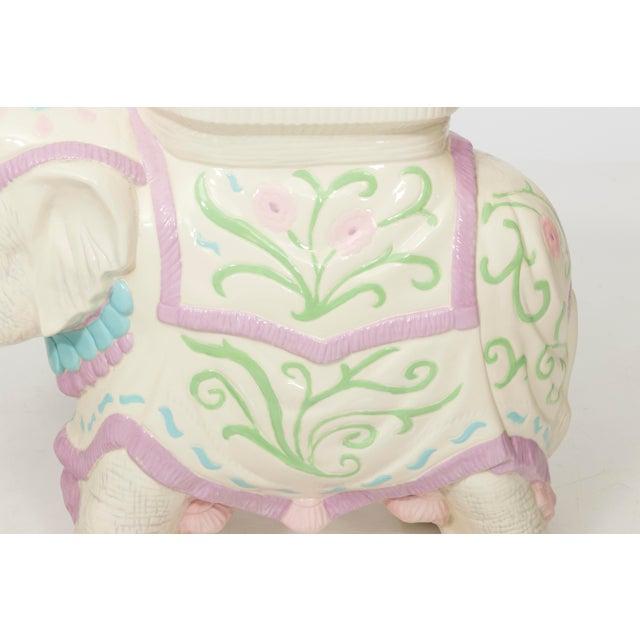 1960s Hollywood Regency Ceramic Elephant Garden Stool or Side Table For Sale - Image 5 of 11